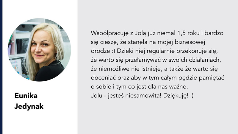 Eunika jedynak rekomendacja Jola Ambrożewicz