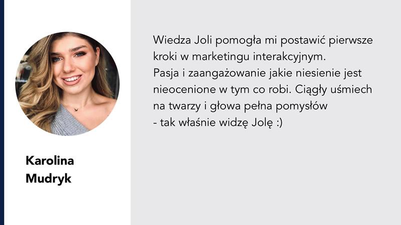 Karolina Mudryk rekomendacja Jola Ambrożewicz